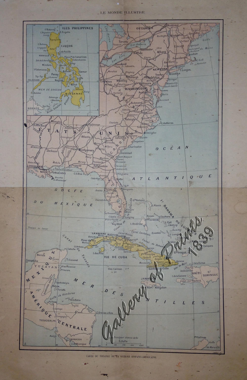 Spanish American War Philippines Map.Carte Du Theatre De La Guerre Hispano Americaine Map Of The