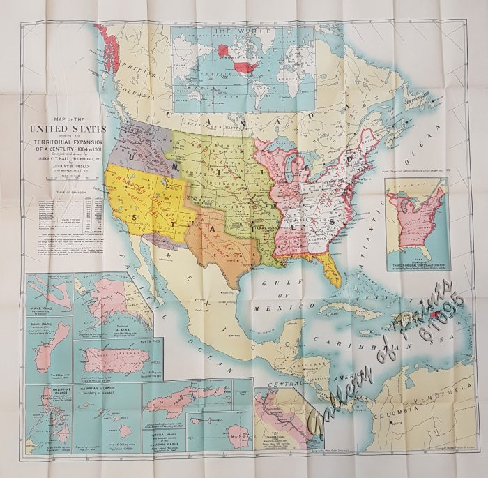 Map of the United States showing the Territorial Expansion of a Century  1804 to 1904 insets: 1) The World. 2) Wake Island. 3) Territory of Alaska.  4) ...