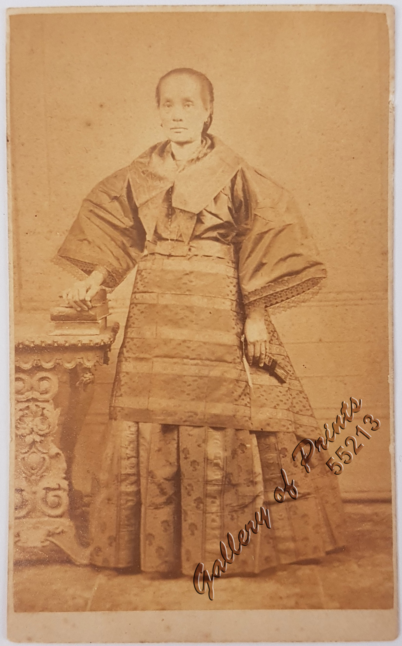 Lady In Formal Dress With Abanico An Original Carte De Visite